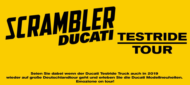 Seien Sie dabei wenn der Ducati Testride Truck auch in 2019 wieder auf große Deutschlandtour geht und erleben Sie die Ducati Modellneuheiten.