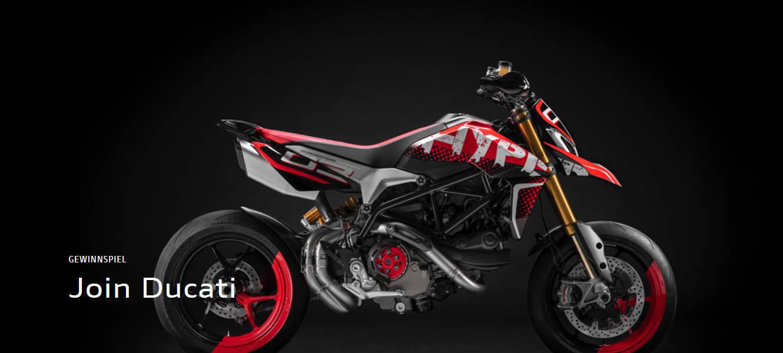 """Als leidenschaftlicher Besitzer eines Ducati Motorrads stehen Ihre Chancen gut, beim """"Join Ducati"""" Gewinnspiel einen von zahlreichen tollen Preisen zu gewinnen. Nehmen Sie jetzt teil!"""